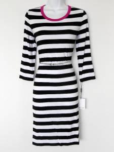 Calvin Klein Dress Size 14 Black White Striped Hot Pink Trim Belt Stretch Knit