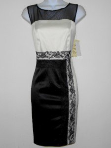 Sangria Dress Size 8P Ivory Black Satin Illusion Colorblock Lace Cocktail NWT