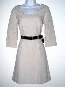 Kensie Dress Size Medium Med M Beige Taupe Retro Mod Flare Belt NWT