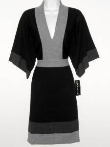 Connected Apparel Sweater Dress Small S Black Gray Colorblock Knit Dolman NWT