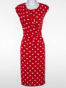 Connected Apparel Dress Size 6 Red White Polka Dot Stretch Ruched Versatile