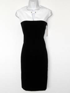 Calvin Klein Dress Size 2 Black White Stretch Sheath Keyhole Career Cocktail
