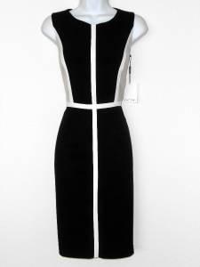 Calvin Klein Dress Size 12 Black Beige White Colorblock Stretch Sheath New