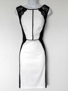 Connected Apparel Dress Size 10 Black White Colorblock Lace Stretch Sheath New