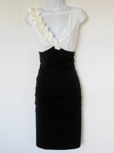 Connected Apparel Dress Size 8 Ivory Black Stretch Flowers Beads Cocktail New