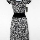 Julian Taylor Sweater Dress Medium M White Black Leopard Animal Cap Sleeve NWT