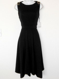 Calvin Klein Dress Size 4 Black Knit Flare A-Line Buckle Asymmetrical NWT