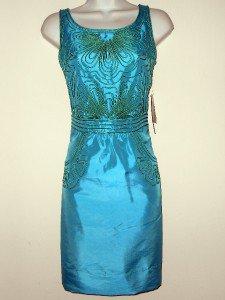 Miss Sixty Dress Size 0 Sky Blue Green Sheath Dress Sateen Boho Pipe Trim NWT