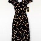 Julian Taylor Dress Size 6 Black Beige Polka Dot Belt Retro Keyhole Stretch NWT