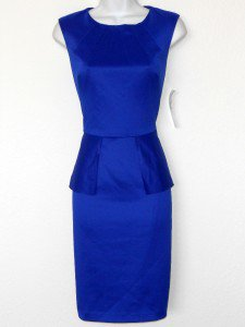 Nine West Dress Size 10 Royal Blue Peplum Pencil Stretch Cocktail Party