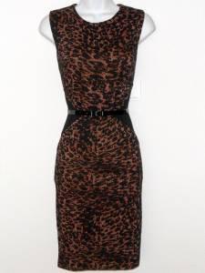 Calvin Klein Dress Size 6 Brown Black Leopard Colorblock Knit Sheath Belt NWT