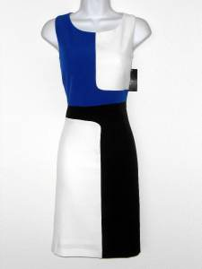 Ronni Nicole Dress Size 12 Blue Black White Geo Colorblock Stretch Sheath
