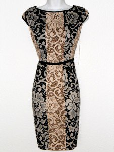 Maggy London Dress Size 14P Brown Black Ivory Mixed Print Knit Sheath NWT