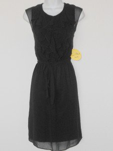 Emma & Michele Dress Size 12 Black Ruffle Chiffon Sleeveless Belt NWT