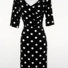 Connected Apparel Dress Size 12 Black White Polka Dot Stretch Versatile New