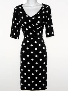 Connected Apparel Dress Size 12 Black White Polka Dot Stretch Versatile New