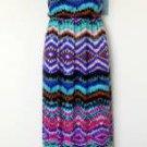 London Times Maxi Dress Sz 10 Blue Pink Brown Multi Boho Print One Shoulder New