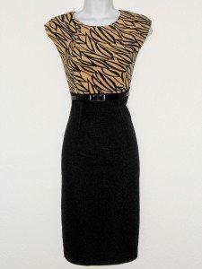 Connected Apparel Dress Sz 14 Beige Black Print Sheath Career Cocktail Belt New