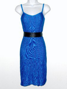Anne Klein AK Dress Size Sz PP Petite Sweater Blue Sleeveless Knit Belt NWT New