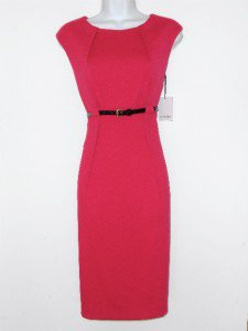 Calvin Klein CK Dress Size Sz 8 Sheath Begonia Pink Knit Belt Cocktail NWT