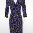 Maggy London Dress Size 4 Purple Black Geometric Print Faux Wrap Stretch NWT