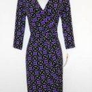 Maggy London Dress Size 4 Purple Black Geometric Print Faux Wrap Stretch NWT