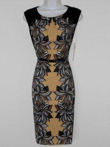 London Times Dress Sz 8 Stretch Sheath Brown Black Floral Scroll Print Belt NWT