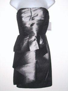 Calvin Klein Dress Size Sz 2 Strapless Silver Peplum Cocktail Taffeta NWT