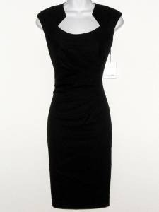 Calvin Klein Dress Size 4 Black Ruched Stretch Sheath Cocktail Career NWT