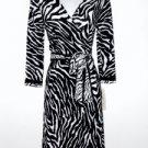Evan Picone Wrap Dress Size Sz 6 Black White Zebra Animal Print Stretch NWT