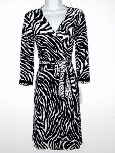 Evan Picone Wrap Dress Size Sz 6 Black White Zebra Animal Print Stretch NWT