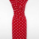 Connected Apparel Dress Size 12 Red White Polka Dot Stretch Ruched Versatile