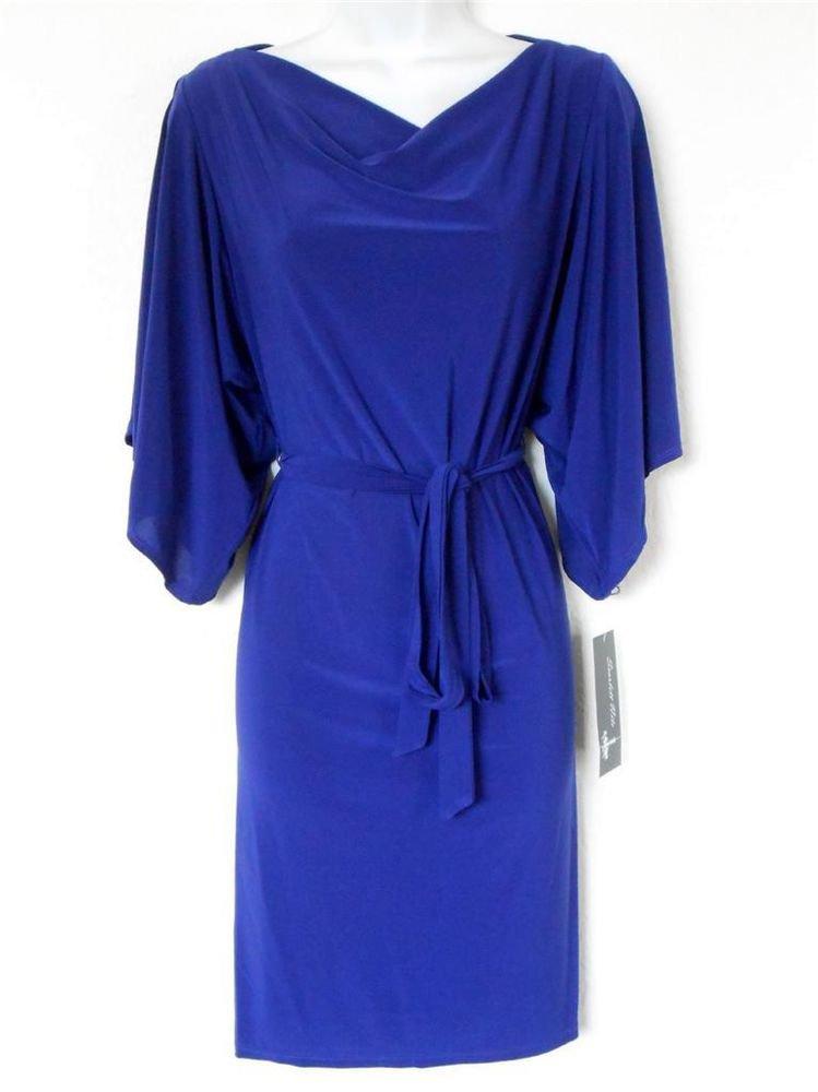 Scarlett Nite Dress Size 10 Deep Purple Split Sleeve Stretch Jersey Belt NWT