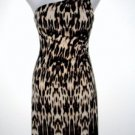 Connected Apparel Dress Sz 12 Leopard One Shoulder Ruched Stretch Beaded New