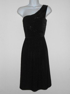 Max & Cleo Black Dress Size 10 One Shoulder Sequins Pleated Jersey Grecian NWT