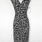 London Times Dress Size 8 Black White Polka Dot Print Ruched Stretch NWT