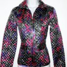 Chico's Chicos Silver Purple Pink Reversible Quilted Shimmer Jacket Size 0 New