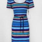Calvin Klein CK Dress Size 8 Blue Purple Multi Geometric Print Shift Belt NWT
