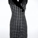 Calvin Klein CK Sweater Dress Large L Gray Black Houndstooth Sleeveless NWT