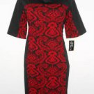 Julian Taylor Dress Size 24W Red Black Paisley Print Colorblock Knit NWT