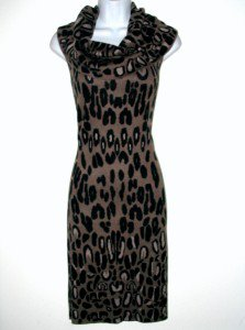 Jessica Simpson Sweater Dress Medium M Leopard Print Cowl Neck Sleeveless NWT