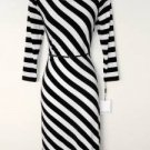 Calvin Klein Dress Size 12 Black White Striped Stretch Jersey Belt NWT