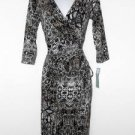 London Times Dress Size 14 Brown Black White Snakeskin Print Stretch Ruched NWT