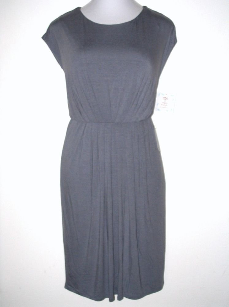 Suzi Chin Dress Size 16 Gray Sleeveless Pleated Knit Versatile NWT