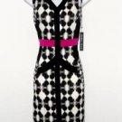 Ivanka Trump Dress Size 8 Ivory Black Pink Print Stretch Sheath Cocktail NWT