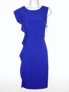 Calvin Klein Dress Size Sz 10 Royal Blue Sheath Ruffle Cocktail Career NWT