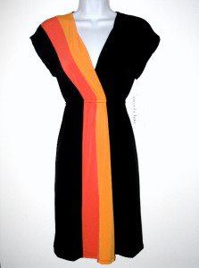 Amanda Lane Dress Small S Sml Black Orange Colorblock Stripe Jersey NWT