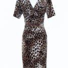 Evan Picone Dress Size Sz 10 Brown Black Leopard Print Ruched Stretch