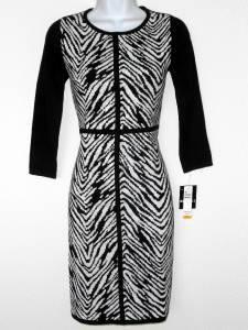 Sandra Darren Sweater Dress Size XL Black White Zebra Animal Knit NWT