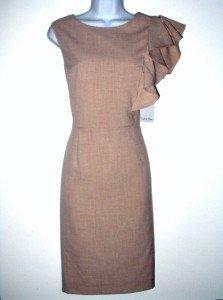 Calvin Klein Dress Size Sz 10 Sheath Sandy Beige Ruffle Career Cocktail NWT New
